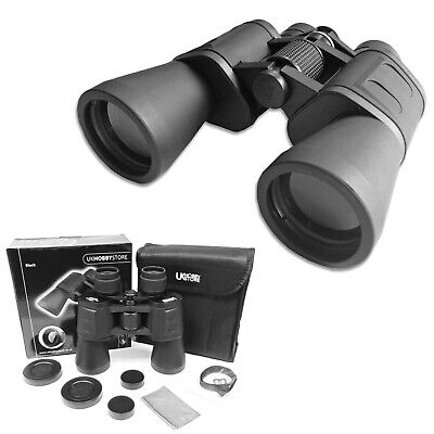 10 X 50 HIGH POWER PORRO PRISM BINOCULARS & CASE CAPS BAG STRAP NEW BIRDWATCHING • 27.94£