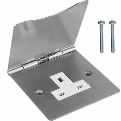UKDJ UK Mains Floor Socket 1 Gang 13A Stain Chrome Hinged Cover BS1363 Approved • 7.99£
