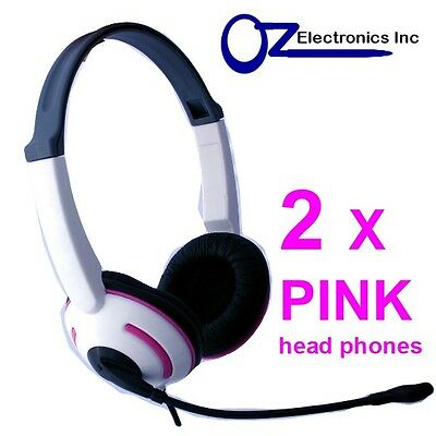 2 X Headset Headphone Microphone For PC Or MAC Skype MSN VOIP PINK Girls Ladies • 10.34£
