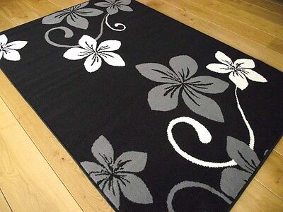 New Black Silver And Grey Small Extra Large Modern Floral Floor Carpets Mat Rugs • 29.99£