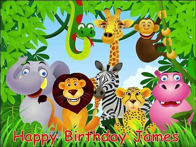 £3.75 • Buy A4 Jungle Animal Mix Personalised Icing Sheet Cake Topper Edible Decoration