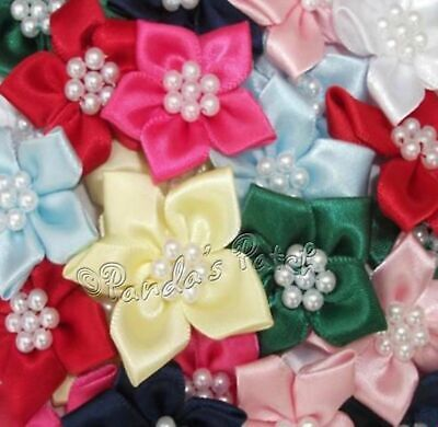Satin Ribbon Poinsettia Flowers With Pearl Beads, Choose Your Colour & Pack Size • 3.79£