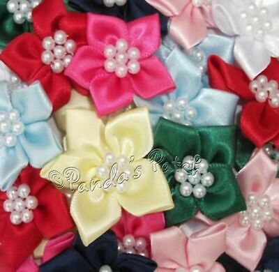 Satin Ribbon Poinsettia Flowers With Pearl Beads, Choose Your Colour & Pack Size • 1.29£
