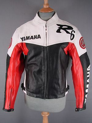 'yamaha' Black, White & Red Leather Biker Jacket With Ce Armour 36 Inch/xs • 59£