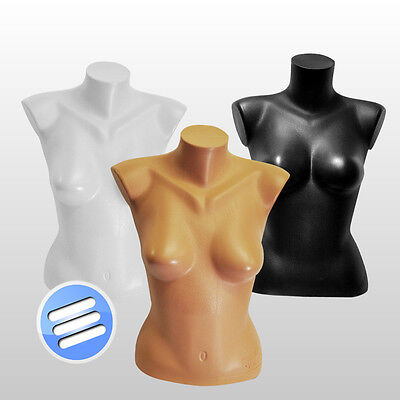 Heavy Duty Female Mannequin Dummy Torso / Bust, Half Body With Back In 3 Colours • 14.99£