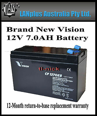 AU27 • Buy Brand New VISION CP1270EB 12V 7Ah VRLA Battery UPS Scooter NBN Alarm CP1270
