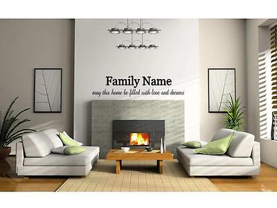 £24 • Buy YOUR FAMILY NAME ~ LOVE DREAMS Wall Decal Decor Vinyl Quote Lettering Words 65