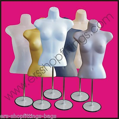 Female Mannequin Freestanding 3qtr Body Form Top Table Counter Round Stand  • 14.99£