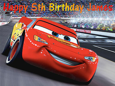 Disney Cars Lightning Mcqueen A4 Edible Birthday Cake Topper Decoration • 3.25£