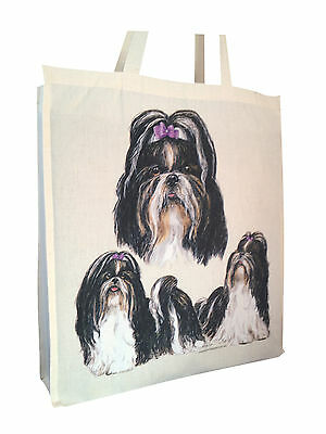 £10.99 • Buy Shih Tzu Group Cotton Shopping Bag Tote With Gusset & Long Handles Perfect Gift