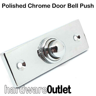 POLISHED CHROME Victorian Oblong BELL PUSH - B2942 DOOR BELL + Screws • 5.78£
