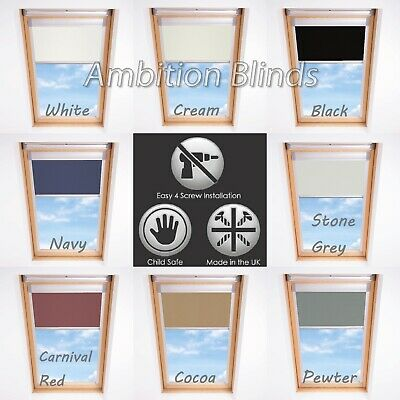 Blackout Skylight Roller Blinds For Velux Roof Windows Thermal Fabric All Sizes  • 41£