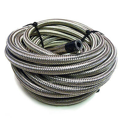£8.95 • Buy AN-10 9/16  14MM Stainless Steel Braided RUBBER Oil Cooler Hose Pipe 1/2 Metre