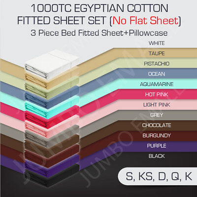 AU45 • Buy 1000TC Egyptian Cotton 3 Piece Bed Fitted Sheet Set Pillowcase(No Flat Sheet)