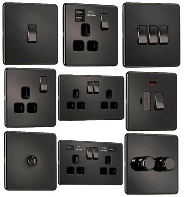 EXCLUSIVE PROMOTION - Screwless Flat Plate Light Switches & Sockets Black Nickel • 8.85£