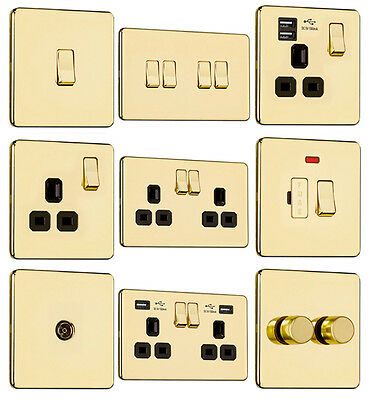 £9.29 • Buy EXCLUSIVE PROMOTION-Screwless Flat Plate Light Switches & Plug Sockets Pol Brass