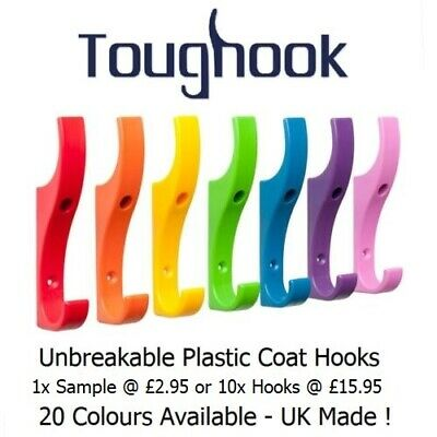 £13.95 • Buy TOUGHOOK Super Strong Coat Hooks For Schools Unbreakable NEW LOWER PRICE