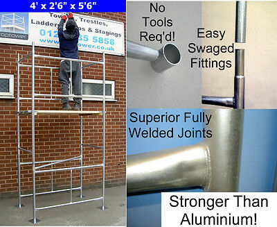 Scaffold Tower 3.8m 4 X2ft 6in X 12ft 6in DIY Working Ht Galvanised Steel Towers • 164£