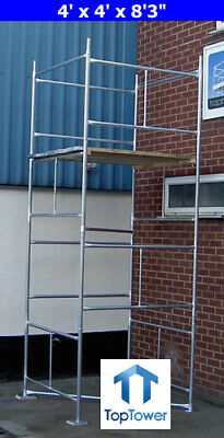 Scaffold Tower 4.65m 4x4x 15ft 3in Working Ht DIY Galvanised Steel Towers • 229£