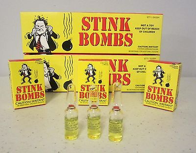 $6.65 • Buy 12 Stink Bombs Glass Vials Stinky Smelly Nasty Fart Gas Bomb Smell  Gag Gift