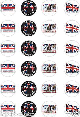 £2.79 • Buy 24x PRECUT ARMED FORCES DAY/MILITARY/NAVY/ARMY RICE/WAFER PAPER CUP CAKE TOPPERS