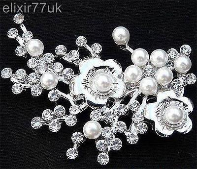 Uk New Silver Tone Faux Pearl Crystal Blossom Flower Brooch Wedding Bridal Party • 2.37£