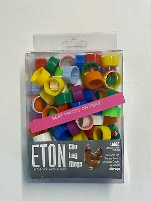 New Chicken Poultry Duck 25 X 16 Mm Clic Clip Leg Rings Available In 10 Colours • 2.60£