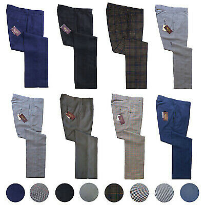 £34.99 • Buy Relco Sta Press Trousers Dogtooth POW Tonic Tweed Black Blue Check Stay Pressed