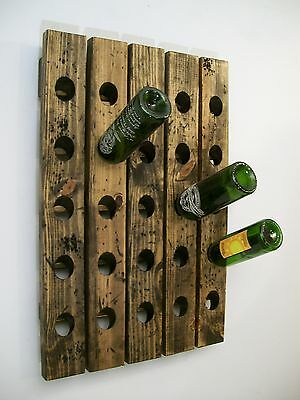 Wine Riddling Rack Wall Mounted Distressed Wood Handcrafted  • 135.85£