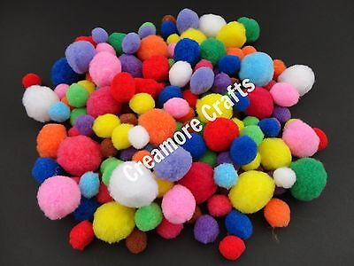 50 Craft Poms Multi Coloured Fluffy Mixed Pompoms Balls Various Sizes Crafts • 3.45£