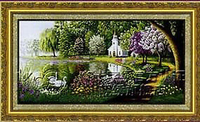 Finished Cross Stitch Ready For Home Deco  Lake  100% Handmade • 844.06£