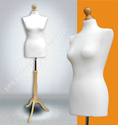 Female Mannequin Tailors Dummy Display Cream With Wooden Tripod Size 8/10 • 27.90£
