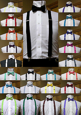 $7.99 • Buy Men's Clip-on Suspenders X Back And Bow Tie Retro Steampunk Costume Tux Prom