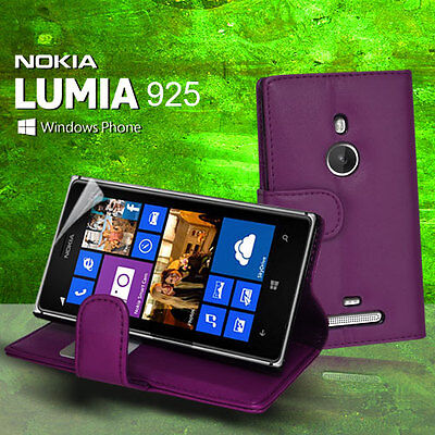 AU6.99 • Buy Purple Wallet Flip Leather Case Cover Card Slot For Nokia Lumia 925 + Screen Gua