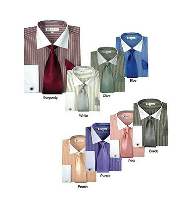 $21.99 • Buy Men's Striped Formal Casual Dress Shirt With French Cuff Links,Tie And Hanky