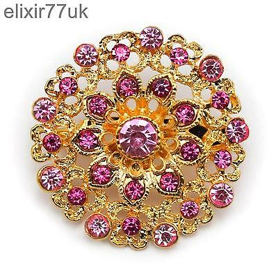 £2.06 • Buy New Gold Flower Bouquet Brooch Pink Diamante Crystal Wedding Party Bridal Broach
