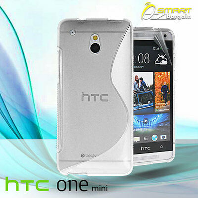 AU4.99 • Buy Clear S Curve Gel Case For HTC ONE Mini M4 + Screen Guard TPU Jelly Soft Cover