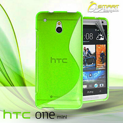 AU4.99 • Buy Green S Curve Gel Case For HTC ONE Mini M4 + Screen Guard TPU Jelly Soft Cover
