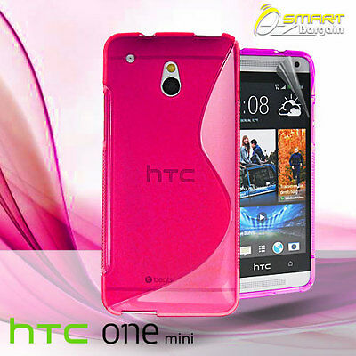 AU4.99 • Buy Pink S Curve Gel Case For HTC ONE Mini M4 + Screen Guard TPU Jelly Soft Cover