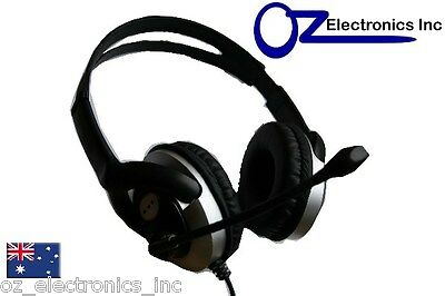 Headset Headphone Microphone For PC MAC SKYPE BRAND BLACK SILVER Live 3.5mm • 8.38£