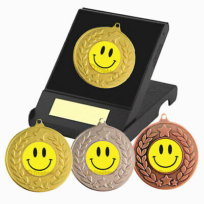 £4.35 • Buy Smiley Face Medal In Presentation Box, F/Engraving, School Awards, Well Done