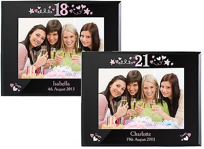 Personalised Girls 18th And 21st Birthday Black Photo Frames - Gift For Her • 17.99£