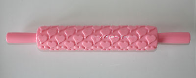 Heart Embossing Rolling Pin Sugarcraft, Cake Decorating *NEW* Pink • 4.99£