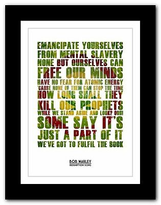 ❤ BOB MARLEY Redemption Song ❤ Song Lyric Poster Typography Art Print - 4 Sizes • 9.95£
