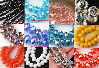 $ CDN2.73 • Buy 4*6mm/4*8mm Faced Rondelle Crystal Glass Loose Spacer Beads Fit Jewelry DIY