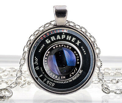 Vintage Black Old Camera Lens Pendant Necklace Photographer Silver Jewelry Gift • 7.99£