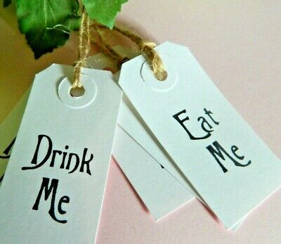 £2 • Buy 15 Drink Me Eat Me White Vintage Alice Style Buffet Labels Tags Wedding Birthday