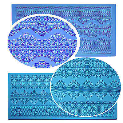 Silicone Cake Decorating Lace Icing Impression Mat For Creating Edible Lace • 22.99£