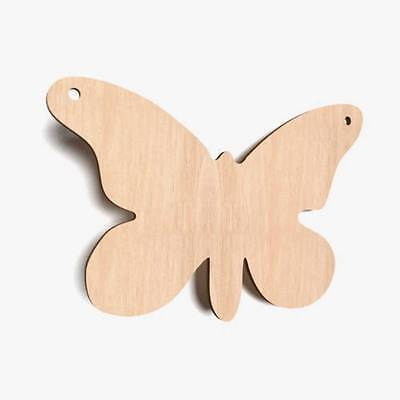 10x Wooden Butterfly Shapes Plain Gift Tags Blank Decoration Craft Spinnaker • 3.95£