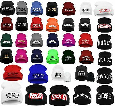 £4.99 • Buy Men Women Winter Beanie Hat Bad Hair Day Caviar Wasted Youth Oversized Unisex